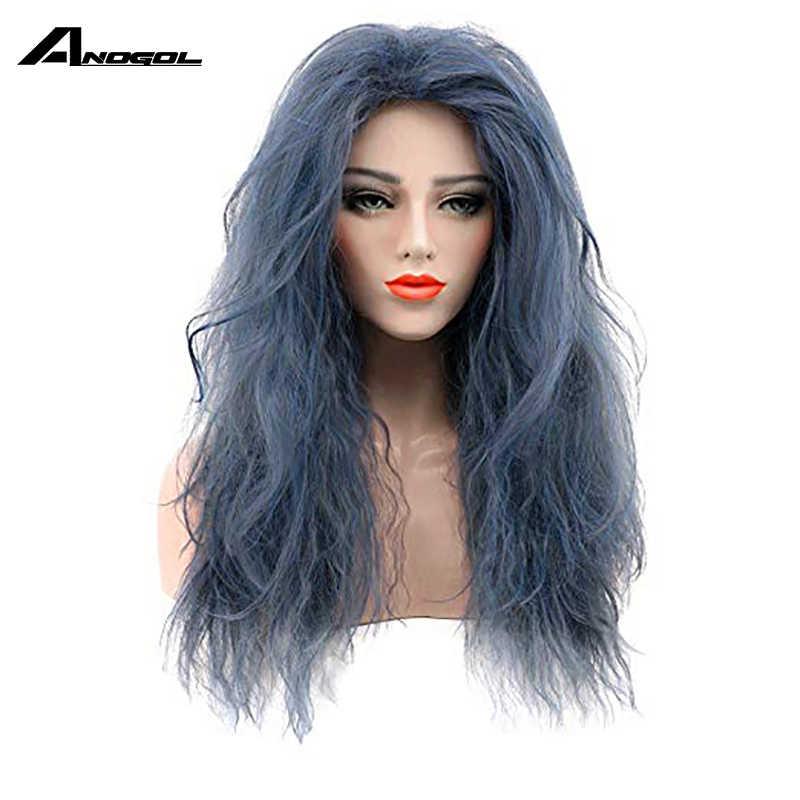 Anogol Brand New czarownica z czarnego Forestn Blue Curly w lesie peruka syntetyczna Cosplay na japońskie Anime kostium do odgrywania ról