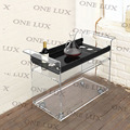 ONE LUX  KD Packed Lucite Wine Bar Cart On Wheels,Acrylic Liquid Serving Trolleys With Casters,Perspex Wine Bottle Rack ONE LUX