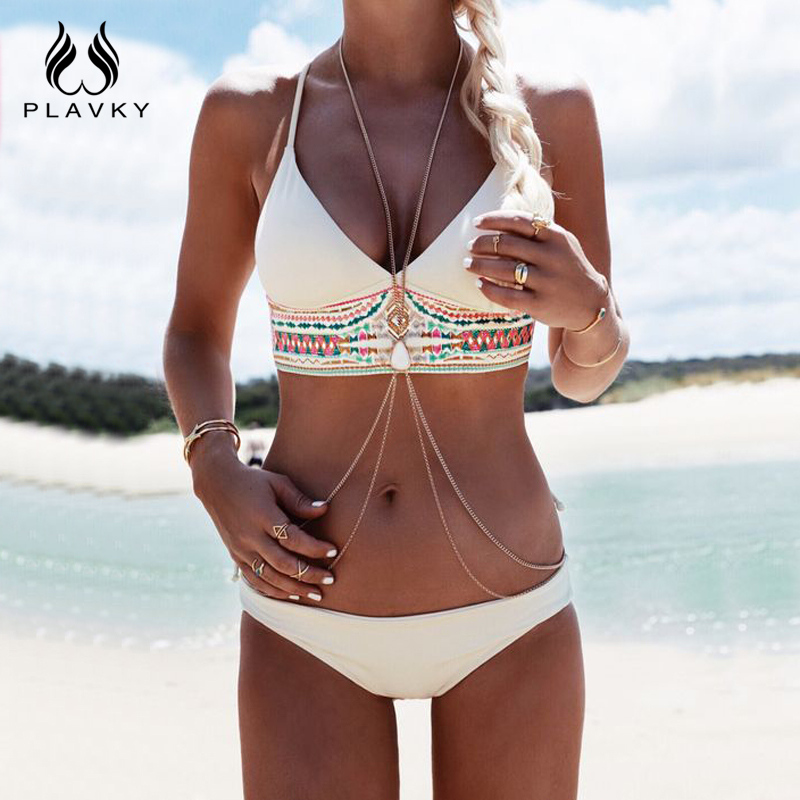 PLAVKY costumi da bagno donna Women Sexy Bikini Set Push Up Swimsuit Print Fringe Bikini Beach Swimwear Women Bathing Suits 2017 new cross straps bikini sexy high waist swimwear women print floral swimsuit bottoms beach bathing suit women bikini set