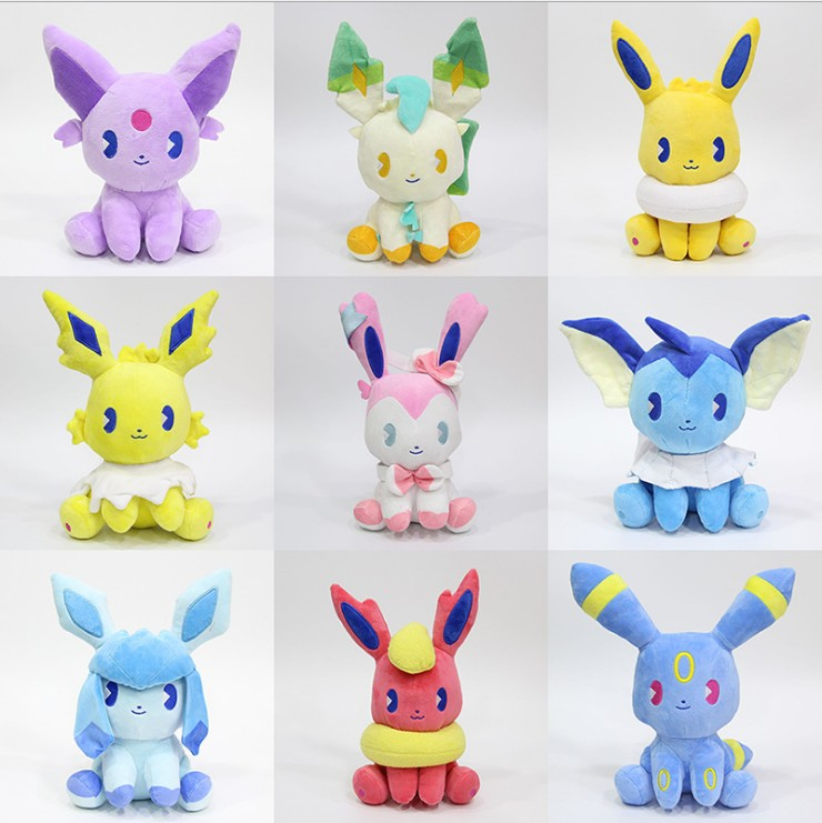 9 pièces/ensemble Eevee Evolution Umbreon packet on Jolteon Vaporeon Flareon Glaceon Leafeon Sylveon peluche jouets