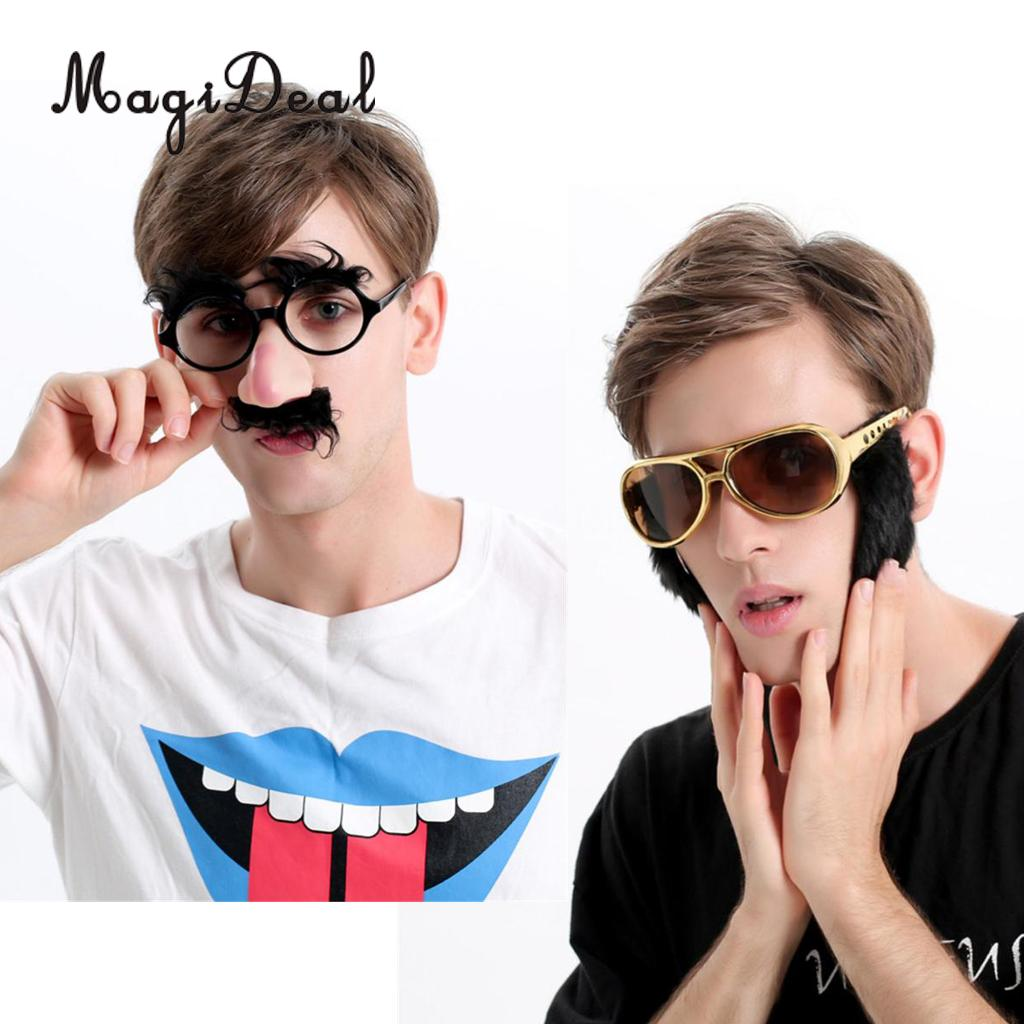 MagiDeal Set of 2 Pieces Novelty Elvis Presley Sunglasses Big Nose Mustache Glasses 70s Fancy Dress Costume Eyewear Props