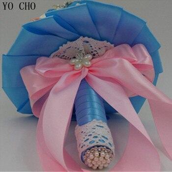 Rosas De Seda Azul | Ramo De Novia Azul Real De Encaje De Cristal Ramo De Novia Joyería Rhinestone Ramo De Perlas Suministros Flor De Rosa De Boda Al Por Mayor