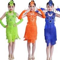 Girls Sequined standard ballroom dress Latin Dancing dress Kids Performance competition Dancewear Costume Salsa dress