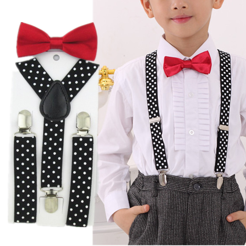 LB015-S Size  New Black Dots Supenders And Black Red Bowtie Set For Boys And Girls Free Shipping Children Suspenders Bowtie Sets