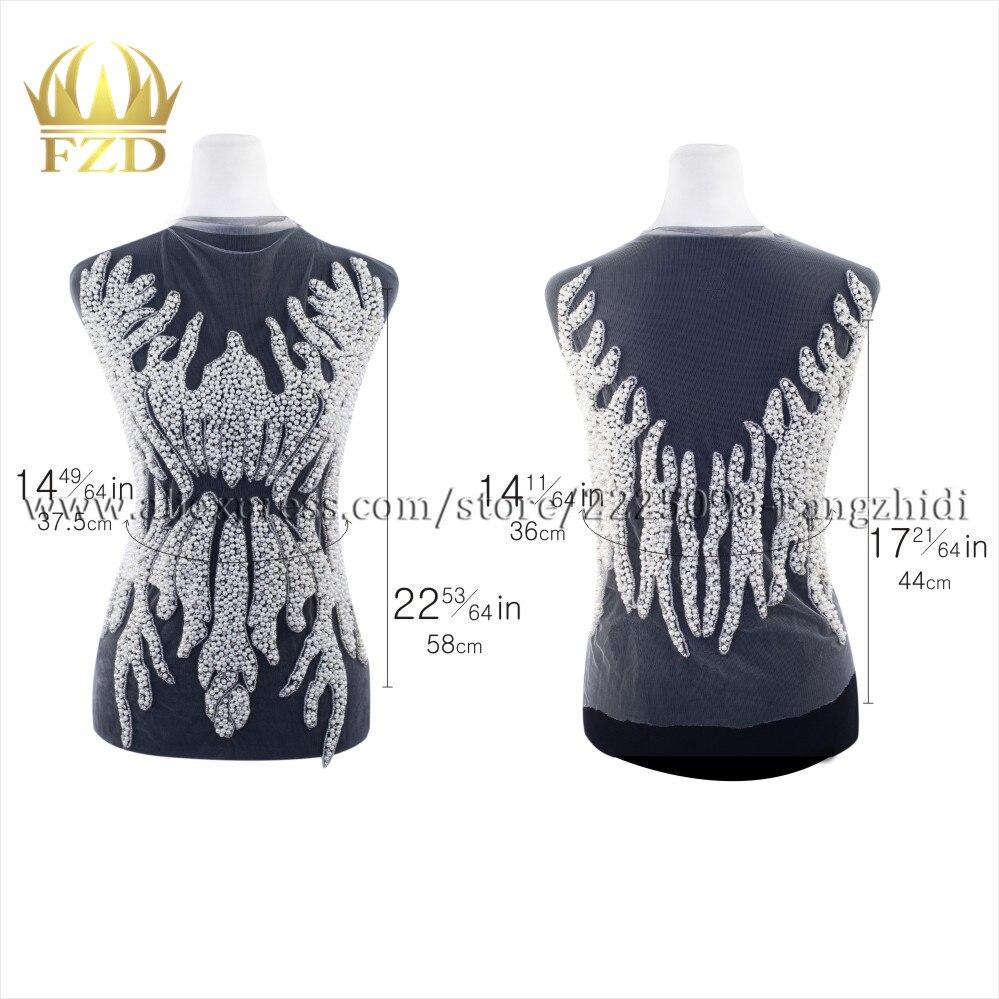 FZD 1 комплект ручной работы Швейные поделки из жемчуга принадлежности патчи Кристалл Золотые Аппликации для одежды свадебное платье вечернее платье DIY