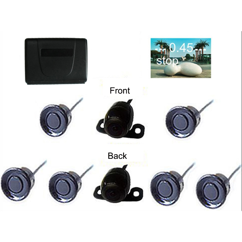 6 Sensors Car Video Parking Sensor Dual Channel Video Parking Reverse Radar System with Front View Camera and Rear View Camera for ford escape maverick mariner car parking sensors rear view back up camera 2 in 1 visual alarm parking system