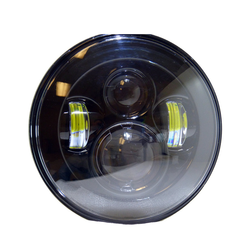 1PCS X 7 Led Headlight Fits Chopper Motorcycles 7 Inch Round Projector Led Headlight Black Round Headlight