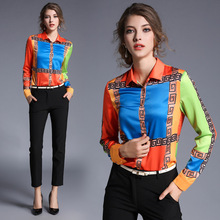 High Quality Women Floral Print Polo Blouse Cardigan Tops Blouse Female 2017 Summer OL Women's CHIFFON Silk Blouse Shirts JA2488
