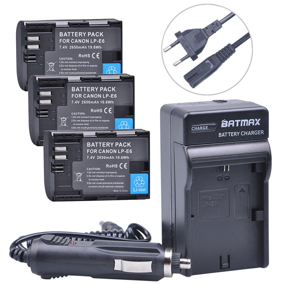 3pcs LP E6 LP E6 Camera Battery font b Digital b font Charger Kits for Canon