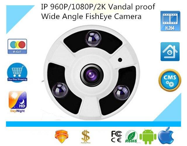 bilder für Luckertech 960 P/1080 P/2 Karat IP POE Audio Kamera vandalensichere Weitwinkel FishEye 1,7mm Objektiv Kamera CCTV Indoor ONVIF 3 Array IR LED