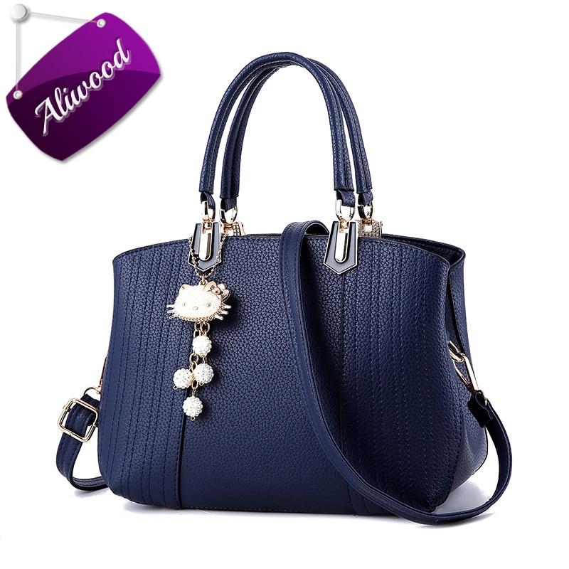купить Aliwood Women bag Europe Fashion New Handbags PU Leather Casual Simple Tote Ladies Shoulder Bags Females Crossbody Bags with cat недорого