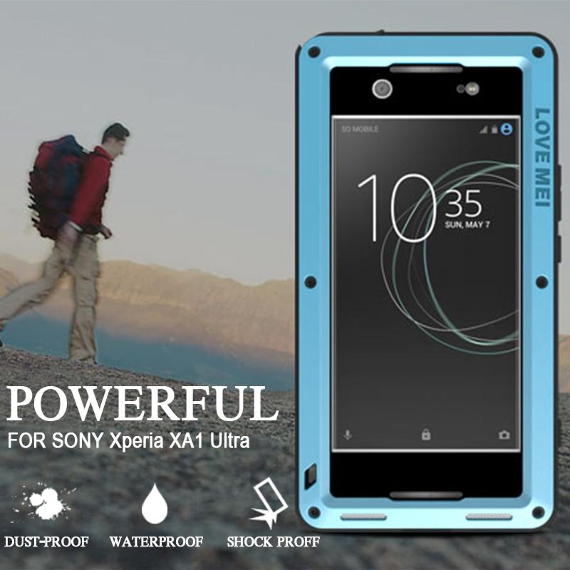 imágenes para A prueba de agua A Prueba de Golpes para Sony Xperia XA1 Ultra Cubierta de Lujo de la Marca de Aluminio Gorilla Glass para Sony Xperia XA1 Ultra Casos
