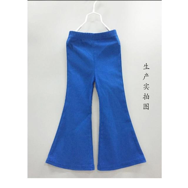 3674d4154 € 12.15 29% de DESCUENTO|2016 nuevos Pantalones de niña Leggings de moda  para niñas pantalones vaqueros azules Leggings estilo campana Casual para  ...