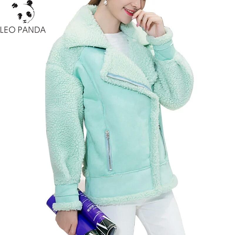 New Fashion Women Faux Leather Jacket Women Autumn Winter Artificial Lambswool Fur Coat Cozy Plus Size Female Overcoat LCY657