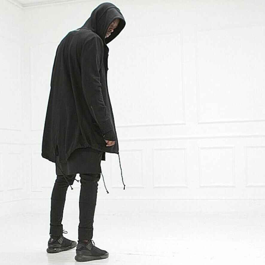 2016 Новая европейская Мужская толстовка хип-хоп одежда Мужская s Толстовка золотая молния длинный рукав черный плащ негабаритная верхняя одежда