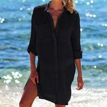 2019 Summer Women Beach Wear Cover-ups White Cotton Tunic Bikini Wrap Skirt Swimsuit Cover Up Bath Dress Sarong plage pareo Q718