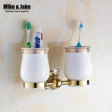 Ванная комната золотой кристалл двойной обладатель кубка ванная комната двойной чашка стойки держатель оборудование для ванной устанавливает аксессуары для ванной комнаты