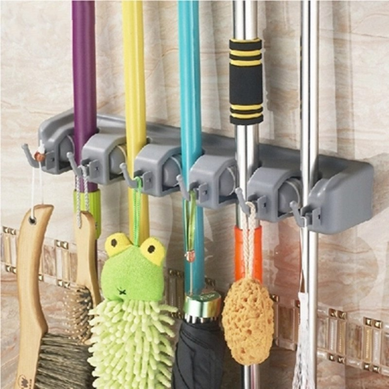 1 Pc Wall Mounted Mop Rack Brush Broom Holder 5/4/3 Position Hangers Organizer Storage Kitchen Bathroom Hooks Tool Organization