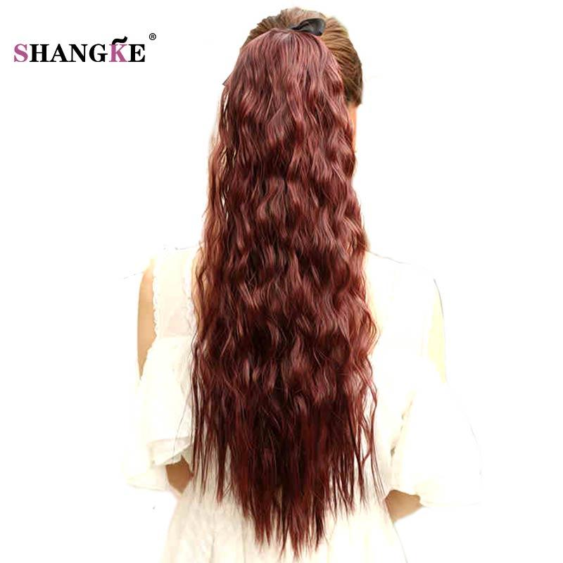 SHANGKE Saç 20 '' Siyah Kadınlar Için Uzun Kıvırcık At Kuyruğu - Sentetik Saç - Fotoğraf 3