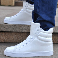 Fashion White Mens High Top Hip Hop Shoes Lace Up Casual Shoes Flats Walking Shoes Footwear Zapatillas Deportivas Hombre T030304