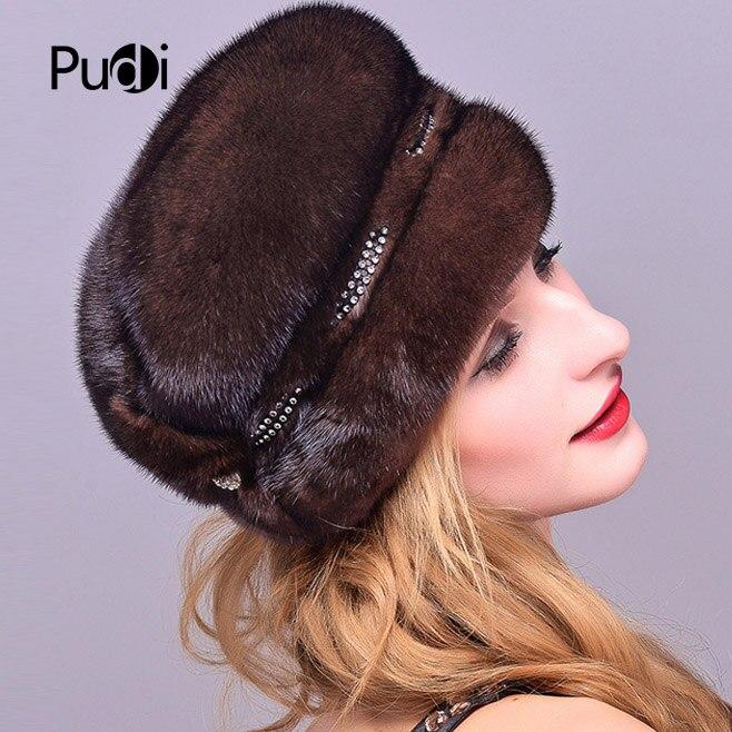 Pudi HF7044 женская шапка из меха норки, новинка 2017, бейсболки из натурального меха норки - 4