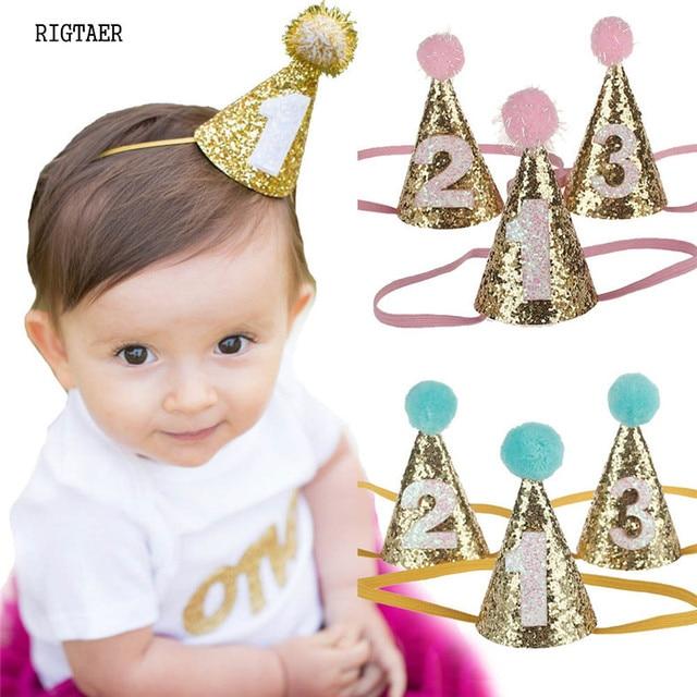 prix d'usine beaucoup à la mode design distinctif € 1.63 5% de réduction|Bébé bébé garçon et fille bandeau princesses  brillantes avec bébé en forme de cône fête d'anniversaire chapeaux cheveux  ...