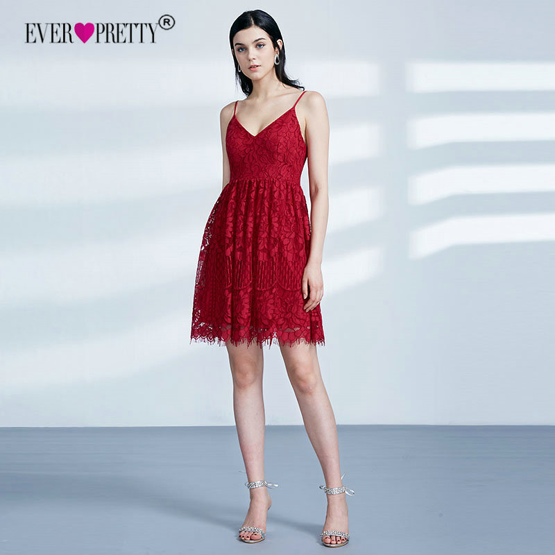 f9b28f931c6 Ever Pretty Elegant V Neck Short Red Lace Graduation Party Gowns New A Line  Spaghetti Straps Homecoming Dresses Vestidos EP04113-in Homecoming Dresses  from ...