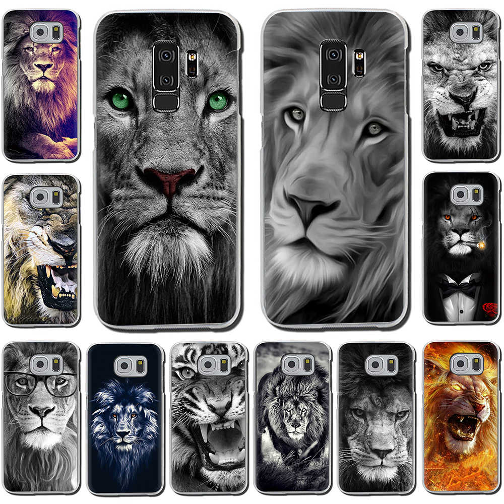Animais o leão capa dura do telefone para samsung galaxy s6 7 edge s8 9 10 plus note8 9 m10 20 30