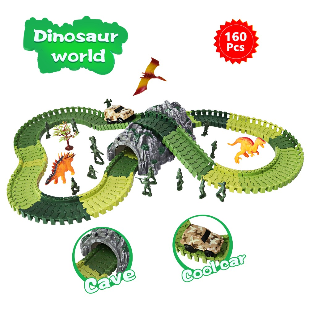 Newest Dinosaur Toys Race Car Track Sets Jurassic World with 160pcs for 2 3 4 Year Old Girls and Boys-Super Fun Dinosaur Toys cute sunlight toys for boys girls vehicle multi track rail car