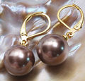 Wholesale  >>>>12mm Round south sea shell pearl NEW- GP Hook dangle earrings AAA Grade