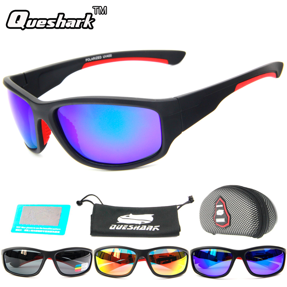 QUESHARK Men Polarized Fishing Sunglasses Camping Hiking Goggles Uv400 Protection Bike Cycling Glasses Sports Fishing Eyewear queshark polarized cycling sunglasses mountain road bike glasses riding bicycle goggles hiking sports eyewear with myopia frame