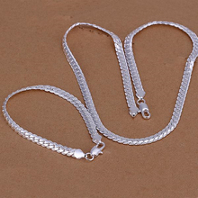 Silver 925 Jewelry Set for Women Fashion 5mm Chain Necklaces Bracelet 2 pcs Wedding Bridal Costume