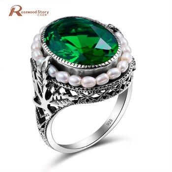 11caa86d3a5d Anillo de Plata de Ley 925 genuino perla Natural Vintage piedra verde cristal  anillos joyería para mujeres boda nuevo anillo al por mayor