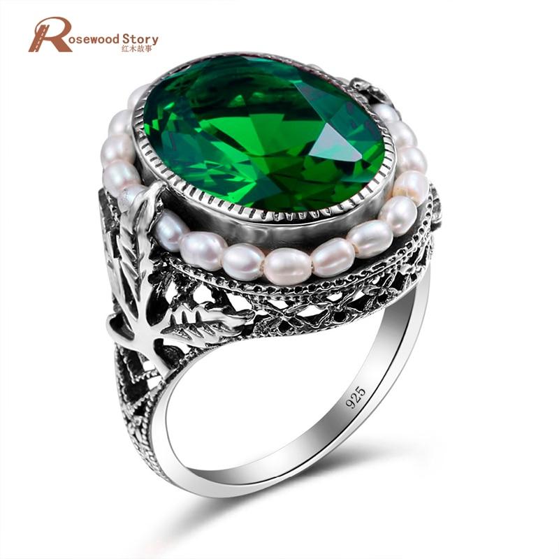 Echtes 925 Sterling Silber Ring Natürliche Perle Vintage Grün Stein Kristall Ringe Schmuck für Frauen Hochzeit Neue Ring Großhandel