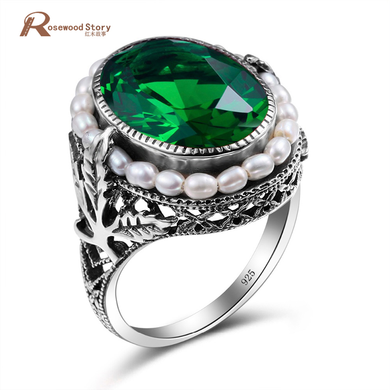 Genuine 925 Sterling Silver Ring Natural Pearl Vintage Green Stone Crystal Rings Jewelry for Women Wedding New Ring Wholesale vintage pearl ring ancient real 925 sterling rings for women 2019 new fashion bohemia jewelry