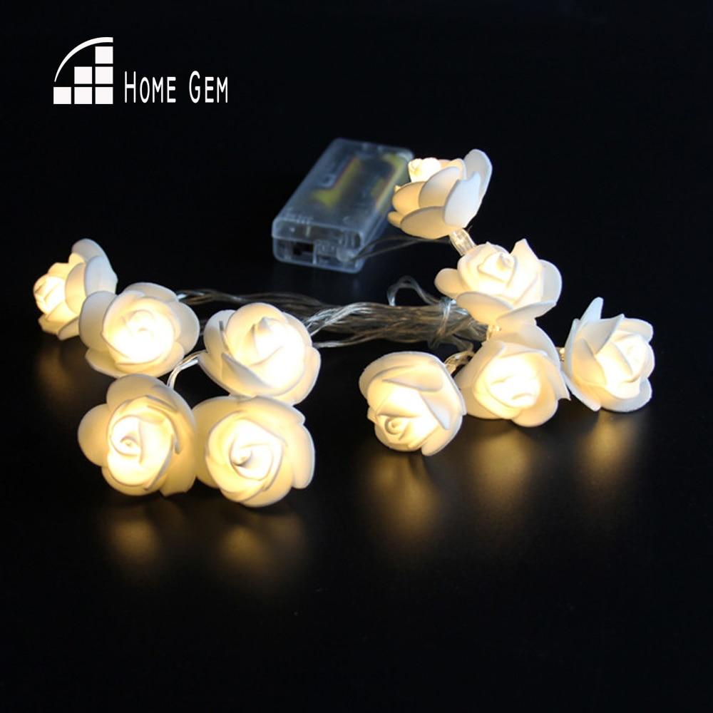 10st LEDs1.6M Batteridrevet LED Rose Flower Lights String til Holiday Wedding Party Decoration
