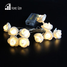 10pcs LEDs1.6M Battery Operated LED rose flower Lights String for Holiday Wedding Party Decoration(China)