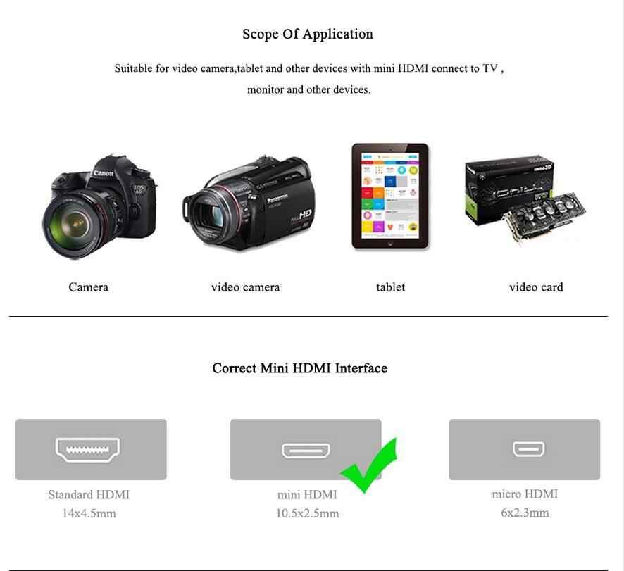 ANNNWZZD Mini HDMI naar HDMI Kabel Vergulde HDMI 1.4 V 1080 P 1 m 1.5 m 2 m 3 m Hoge Premium HDMI Adapter Kabel voor Tablet Camcorder