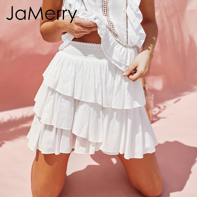 Jamerry Vintage Weiß Frauen Mini Rock Hohe Taille Rüschen Sommer Elegante Mini Röcke Casual Urlaub Strand Rock Weibliche 2019 Seien Sie Freundlich Im Gebrauch