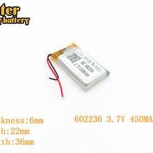 Литиевая батарея 3,7 в 450 мАч 602236 разъем литий-полимерный Перезаряжаемые Батарея для MP3 MP4 MP5 литий-полимерный аккумулятор