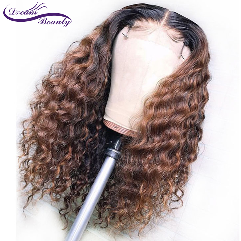 1B/30 Ombre Color Lace Front Human Hair Wigs Baby Hair 13X6 Deep Part Curly Brazilian Non-Remy Lace Wig Free Part Dream Beauty