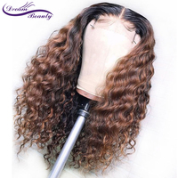 1B/30 Ombre Color Lace Front Human Hair Wigs Baby Hair 13X6 Deep Part Curly Brazilian Non Remy Lace Wig Free Part Dream Beauty