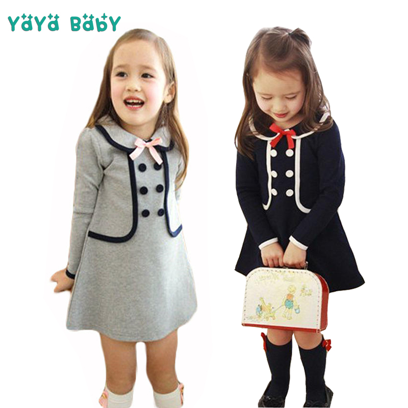 3 4 5 6 7 8 Years Girls Dress 2018 New Spring Autumn Cotton Children School Clothing Long Sleeve Kids Dresses for Girls toddlers girls dots deer pleated cotton dress long sleeve dresses page 8