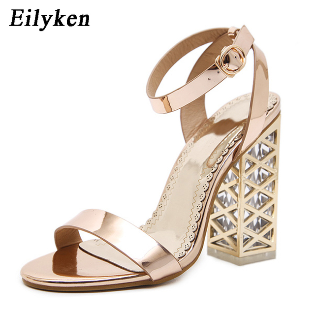 Eilyken champagne Women Sandals Clear Heel Crystal Pumps Peep Toe Crystal  Sandals Summer Rome Sandals For Women Shoes size 35-40 8fabfbb74871