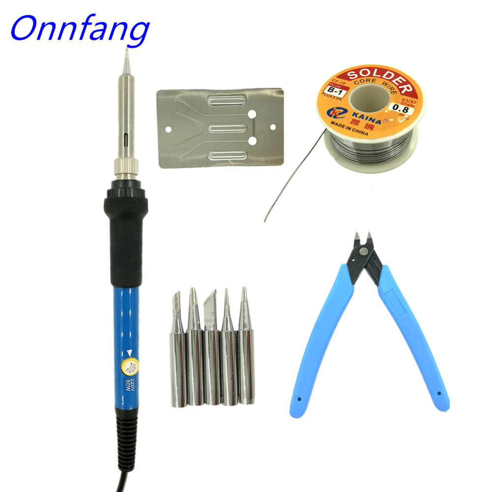 Onnfang 60W Electric Soldering Irons Temperature Adjustable Electric Iron Mini Handle Heat Pencil Soldering Iron