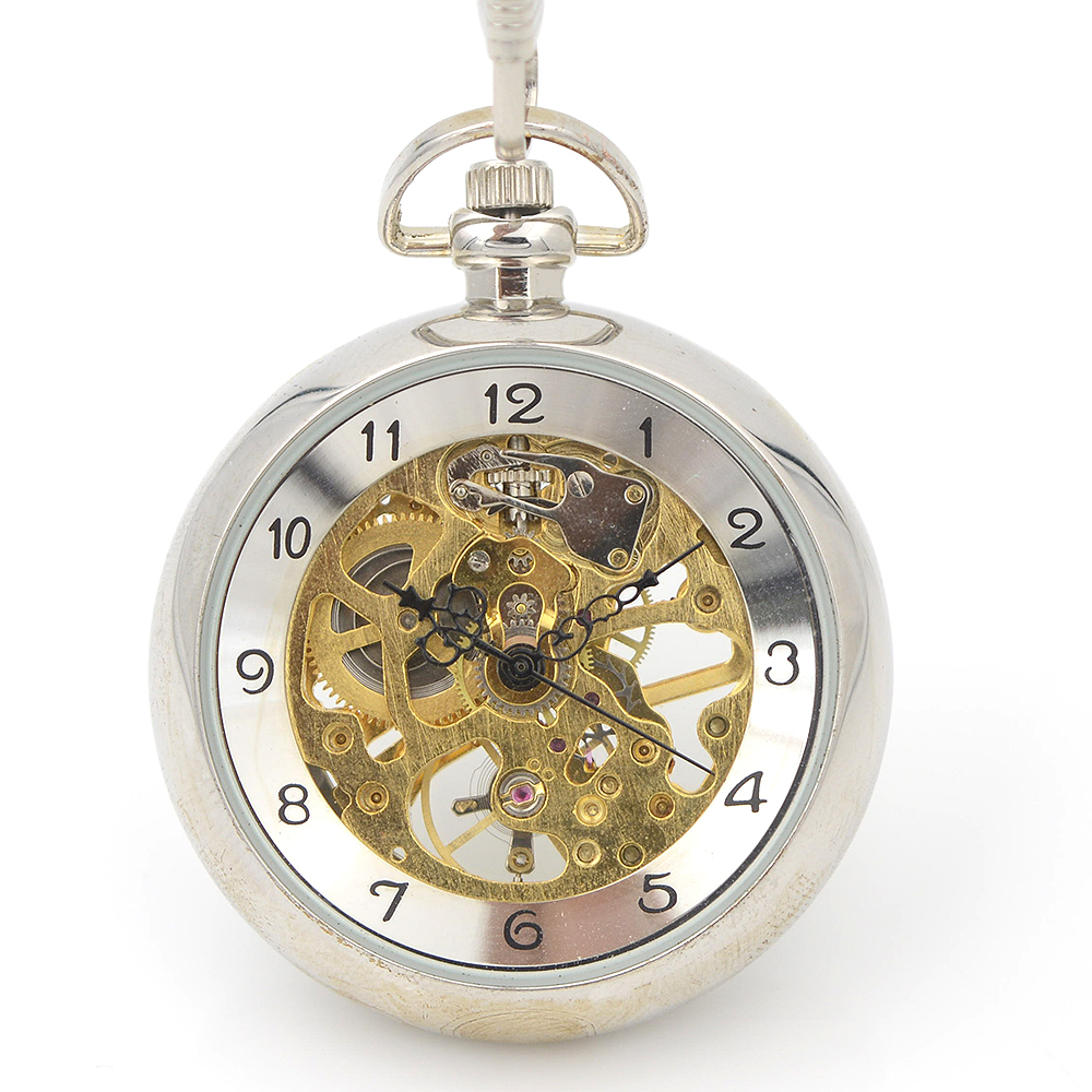 Unique Style Open Face Skeleton Steampunk Wind Up Mechanical Men's Pocket Watch W/chain Arabic Number Dial Nice Gift