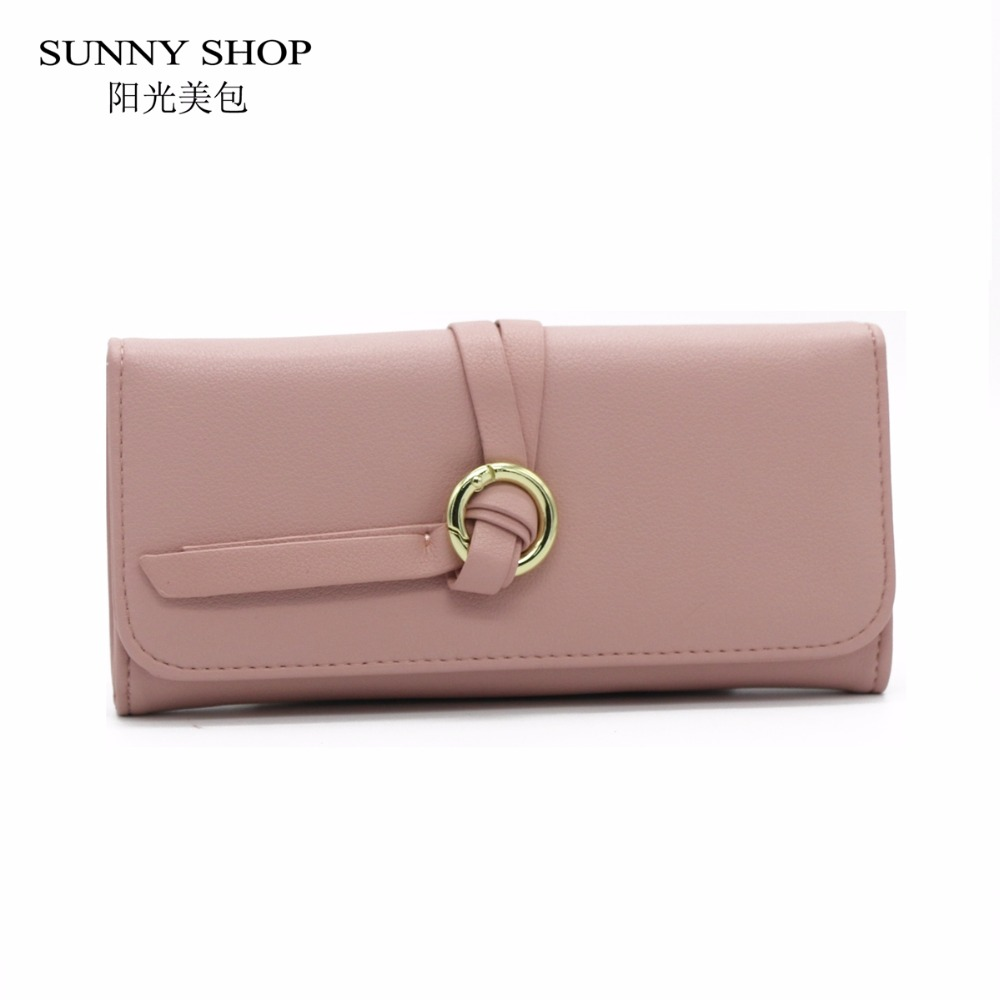 SUNNY SHOP Simple Elegant Long Wallet Women Slim Thin Phone Wallets Candy Color Ladies Purses multi-functional Students Girls