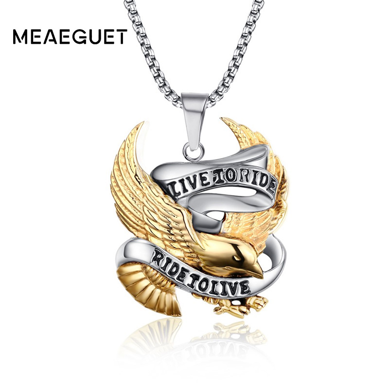 Meaeguet Fashion Eagle Necklace Pendants LIVE TO RIDE Biker Sport Men Gold-Color Stainless Steel Hero Jewelry 24