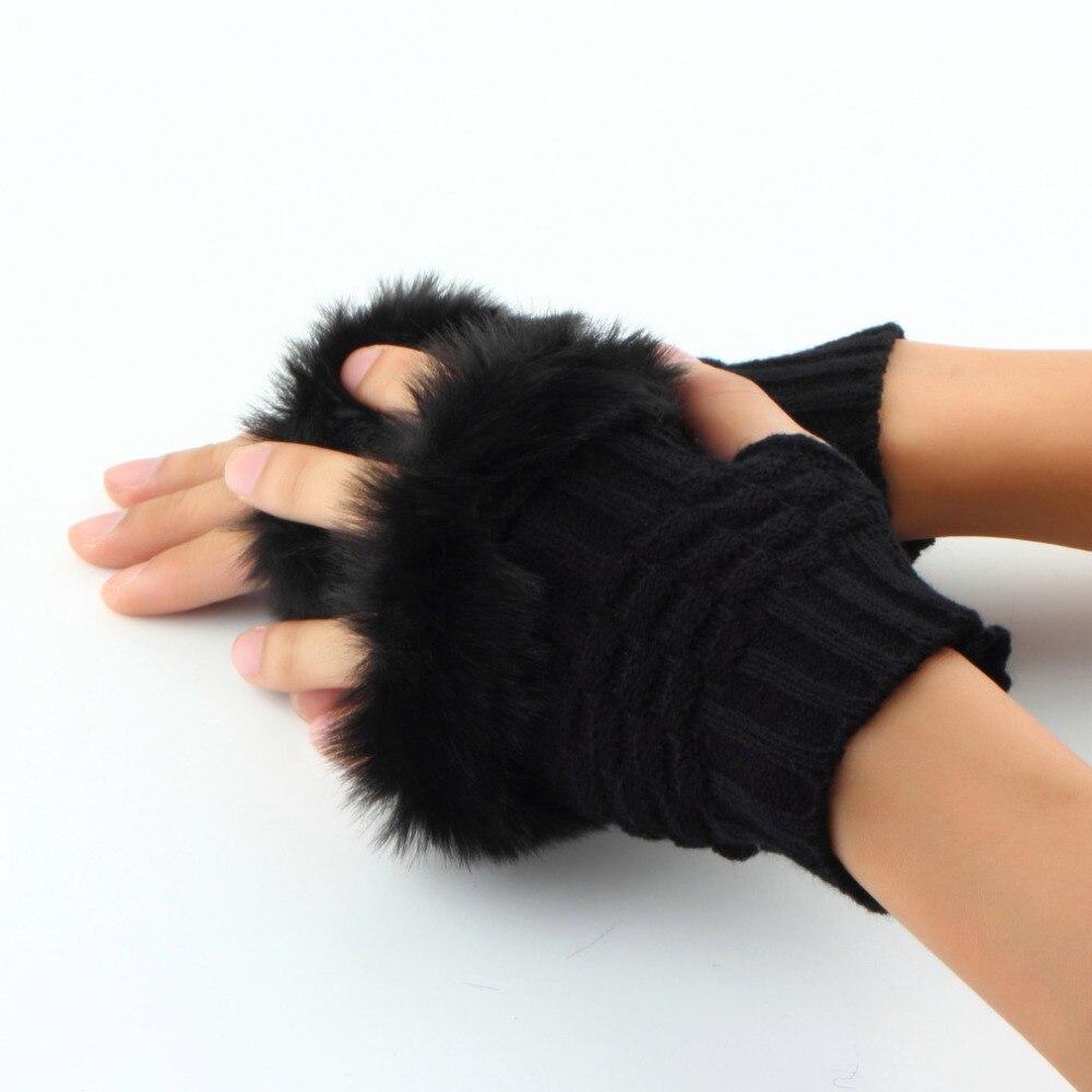 2018 Fashion Women Fingerless Gloves Cute Faux Rabbit Fur Knitted Gloves Female Winter Knitting Warmer Wrist Hand Gloves Mitten
