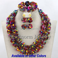 2017 Multicolored Indian Wedding Crystal Jewelry Set Handmade Nigerian Beaded Balls Choker Necklace Set Free Shipping GS324